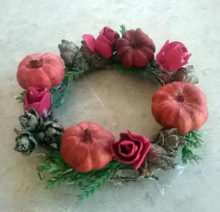 Autumn Tea Light Candle Wreath - attach paper flowers