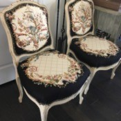 Determining the Value of Vintage Chairs  - white chairs with formal floral patterned upholstery