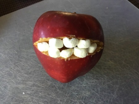 Fruit Monsters - arrange marshmallows to make teeth