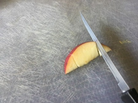 Fruit Monsters - cut ends off the apple wedge to make ears for the pear