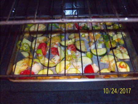 Roasting vegetables in the oven.
