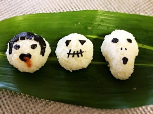 Halloween Rice Balls - decorated rice ball shapes