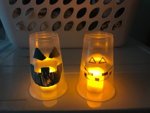 Pumpkin Decor - two finished cup pumpkins lit with LED candles