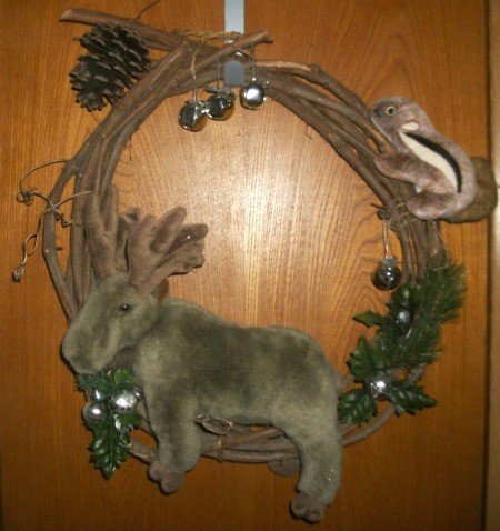 Moose Wreath - grapevine wreath with stuffed moose and chipmunk toys