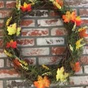 Instant Autumn Decor Wreath - faux fall leaves on foliage wreath