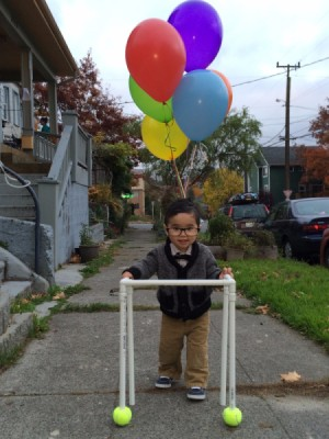 """""""Up"""" Old Man Halloween Costume - young boy in PVC pipe walker"""