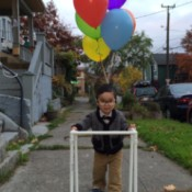 """Up"" Old Man Halloween Costume - young boy in PVC pipe walker"
