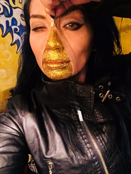 Golden Girl Beneath My Skin Costume - hold zipper and it appears as though unzipping to reveal golden face