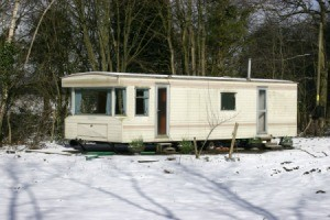 Trailer Home in The snow