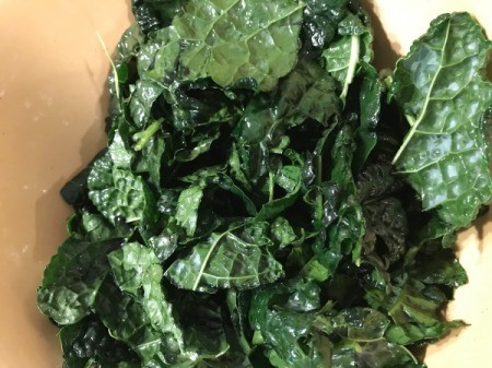 kale coated with olive oil