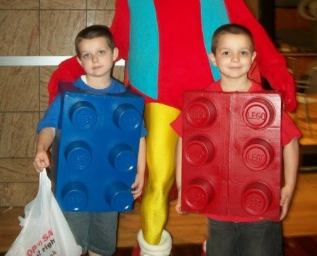 Lego Brick Halloween Costumes = two young boys wearing Lego costumes