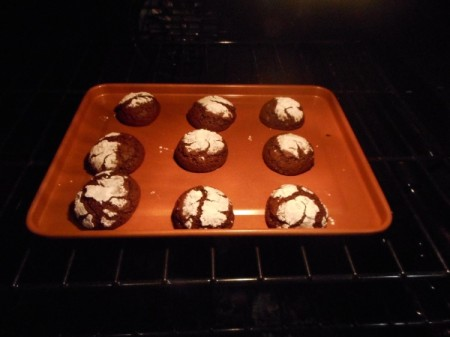 Chocolate Crinkles baked on sheet