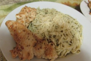 Marinated Chicken with Pesto Angel Hair Pasta on plate