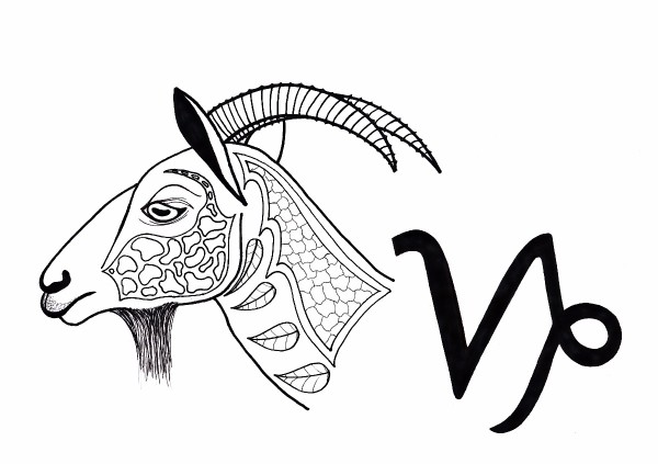 Capricorn adult coloring page thriftyfun for Capricorn coloring pages