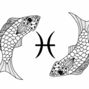 Pisces Adult Coloring Page - two fish pisces symbol