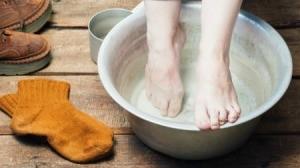 Soaking Feet in Basin