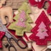 Felt Christmas tree ornaments that have been hand crafted.