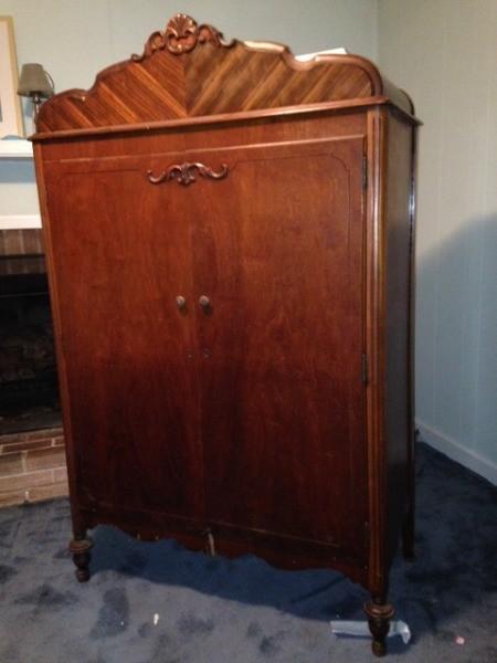 Value of Vintage Wardrobe - beautiful wardrobe with decorative vertical veneer on top