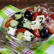 Greek Orzo Salad in Glass Bowl