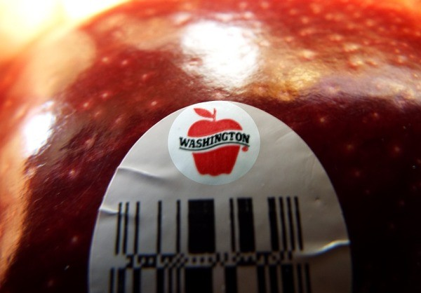 A Red Delicious apple with a Washington sticker.