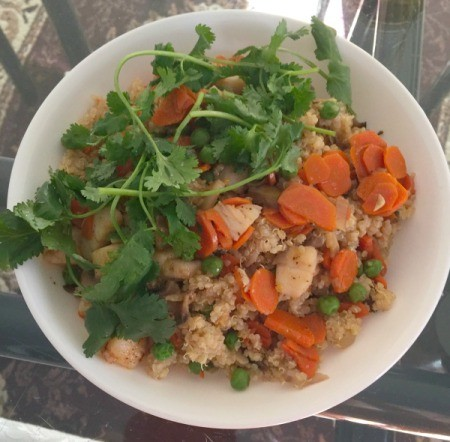 Scallops with Quinoa and Vegetables in bowl