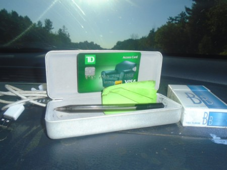 An eyeglass case storing credit cards and a pen.