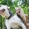 Girl with American Bulldog