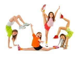 Girls having Gymnastics Party