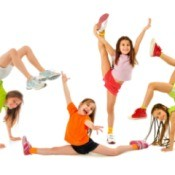 Girls having Gymnastics Party