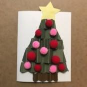 Christmas Tree Holiday Card - pom pom decorated tree card