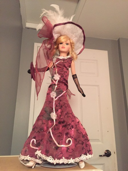 Identifying My Porcelain Dolls - doll with long dress and elaborate hat
