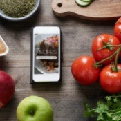 Phone on Counter with Recipes