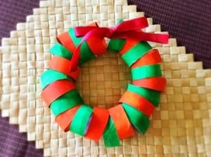 Cardboard Tube Christmas Wreath Wreath - finished wreath