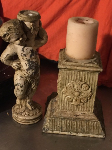 Revamping an Old Statue Lamp - use pedestal for a candle holder