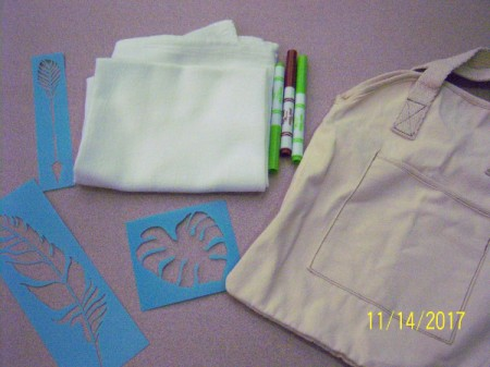 Stenciled Tea Towels or Bags - supplies