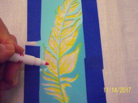Stenciled Tea Towels or Bags - coloring in design