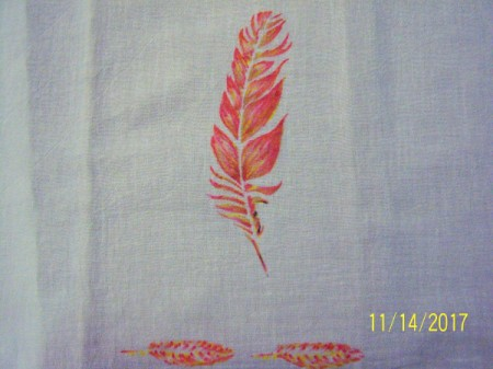 Stenciled Tea Towels or Bags - remove the tape and template
