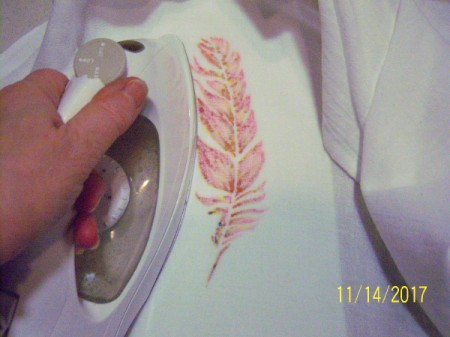 Stenciled Tea Towels or Bags - iron the fabric from the back for 4 minutes