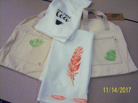 Stenciled Tea Towels or Bags - two towels and two tote bags