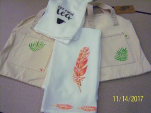 Stenciled Tea Towels or Bags - finished towels