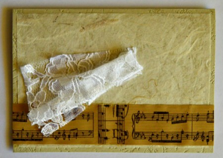 Angel Blowing On Trumpet Christmas Card - gather the lace material and glue to card to make angel's dress
