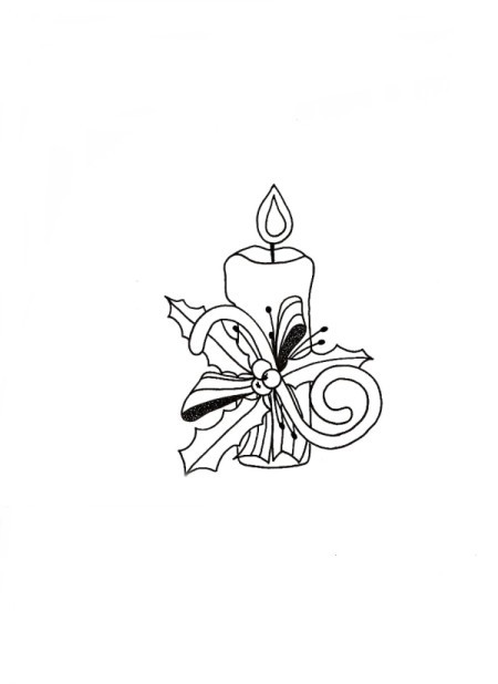 Candle of Light Christmas Card - drawing