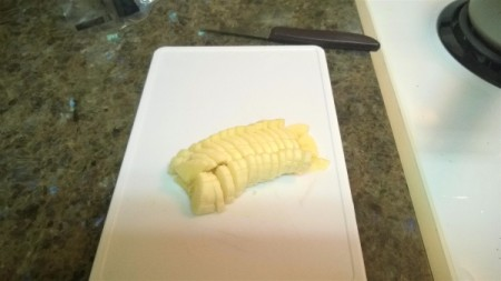 A banana that has been finely diced.