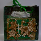 Vintage Star-Studded Christmas Gift Box - finished box lined with tissue paper and tied closed with a bit of ribbon