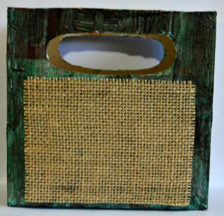 Vintage Star-Studded Christmas Gift Box - center and glue the burlap on