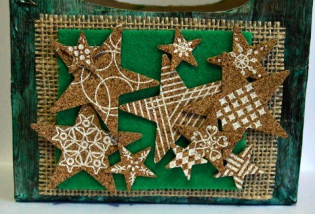 Vintage Star-Studded Christmas Gift Box - center and glue the felt in place and glue on a collage of the cork stars