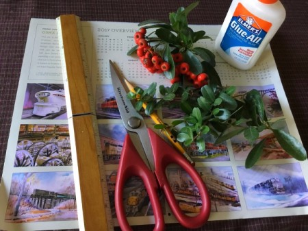 Upcycled Calendar Christmas Wreath - supplies