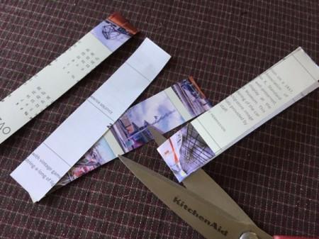 Upcycled Calendar Christmas Wreath - cut each strip at the fold
