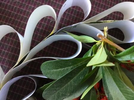 Upcycled Calendar Christmas Wreath - glue on greenery