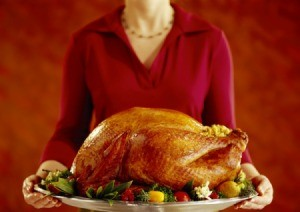 Woman Holding Turkey
